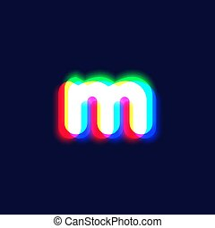 Realistic chromatic aberration character 'm' from a fontset...