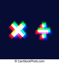 Realistic chromatic aberration character 'multipler/obelus' ...