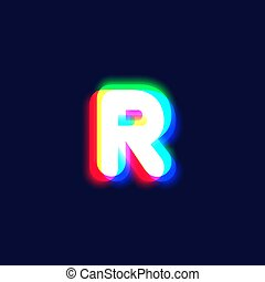 Realistic chromatic aberration character 'R' from a fontset...