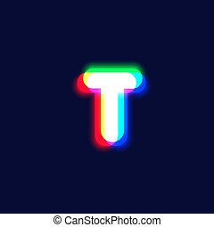 Realistic chromatic aberration character 'T' from a fontset...