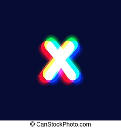 Realistic chromatic aberration character 'X' from a fontset...