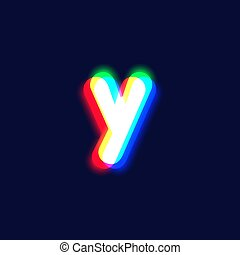 Realistic chromatic aberration character 'y' from a fontset...