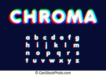 Realistic chromatic aberration font set, vector illustration