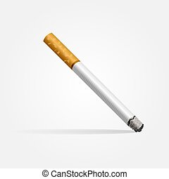 Realistic cigarette on a white background with shadow