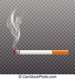 Realistic cigarette smoking on transparent background. Vector.