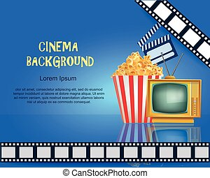 Realistic Cinema Background. Movie Premiere Poster. Template Banner with TV, Popcorn, Clapper and Film. Vector Detailed Illustration on Blue Background.