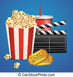 Realistic cinema movie poster template with film clapper, tickets, popcorn and cola