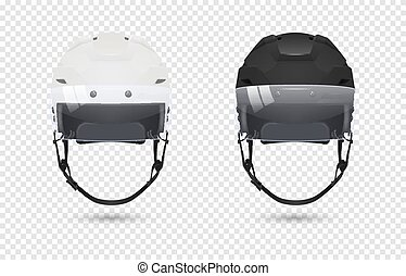 Realistic classic ice hockey helmets with visor set - black and white color. Isolated on transparent background. Front view. Design template closeup in vector. Mock-up for branding and advertise etc.