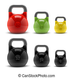 Realistic classic kettlebells - Collection of realistic...