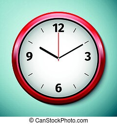 Realistic classic red and white round wall clock icon isolated on blue background. Vector Illustration