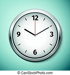 Realistic classic silver and white round wall clock icon isolated on blue background. Vector Illustration