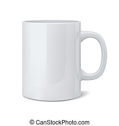 Realistic classic white cup - 3d illustration of realistic ...