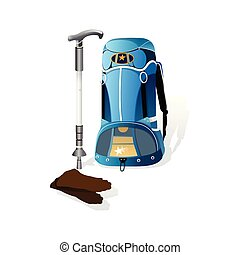 realistic climbing backpack . climbing equipment. isolate on white background