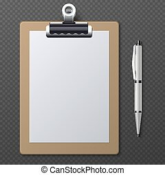 Realistic clipboards with blank white paper sheet and pen. Vector business template