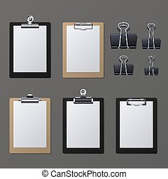 Realistic clipboards with blank white paper sheet. Notepad information board vector illustration