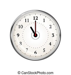 Realistic clock face showing 11-00 on white - Realistic...
