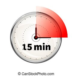 Realistic clock face with fifteen minutes timer on white