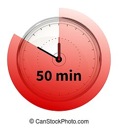 Realistic clock face with thirty minutes timer on white