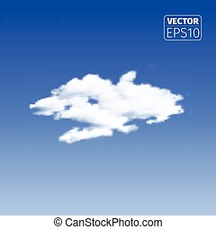 Realistic cloud on blue background.