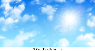 Fuzzy sun rays through scattered clouds on gradient blue sky realistic background image vector illustration