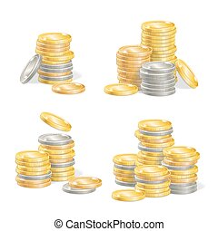 Realistic Coin Stack Set. Vector