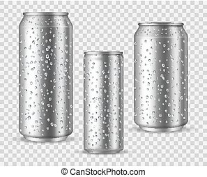 Realistic cold cans. Silver or aluminium metal wet blank ...