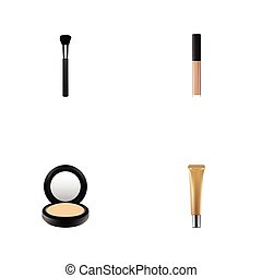 Realistic Collagen Tube, Cover, Fashion Equipment And Other Vector Elements. Set Of Greasepaint Realistic Symbols Also Includes Cover, Tassel, Makeup Objects.