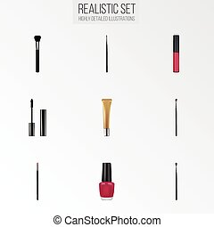 Realistic Collagen Tube, Liquid Lipstick, Fashion Equipment And Other Vector Elements. Set Of Greasepaint Realistic Symbols Also Includes Collagen, Varnish, Ink Objects.