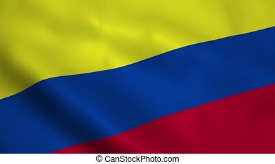 Realistic Colombia flag waving in the wind. Seamless looping.