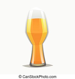 Realistic color cartoon style craft beer glass.
