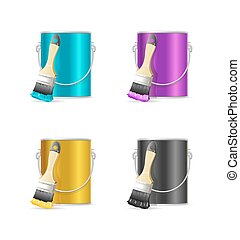 Realistic Color Steel Can Bucket and Paint Brush. Vector
