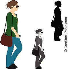 Realistic colored illustration of a woman walking with her mobile phone in hand