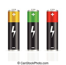 Realistic Colorful Battery Set. Vector
