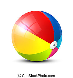Realistic Colorful Beach Ball Vector Symbol Isolated on White Background