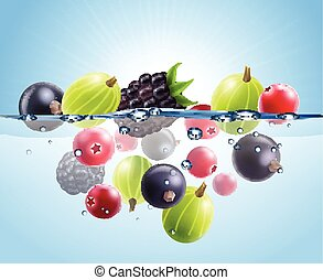 Realistic Colorful Berries Background