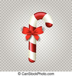Realistic colorful christmas candy cane with red satin bow knot isolated.