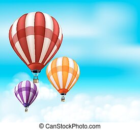 Realistic Colorful Hot Air Balloons