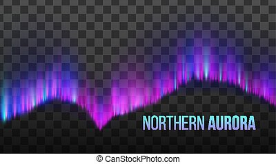 Realistic Colorful Northern Aurora Light Vector