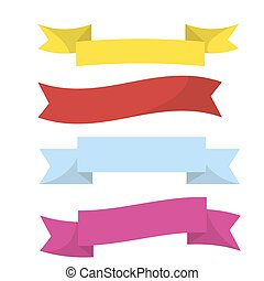 Realistic colorful ribbons isolated on white vector illustration