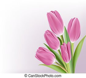 Realistic Colorful Tulips