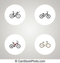 Realistic Competition Bicycle, Old, Adolescent And Other Vector Elements. Set Of Bicycle Realistic Symbols Also Includes Bmx, Triathlon, Retro Objects.
