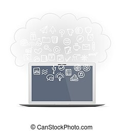 Realistic computer monitor set business icons