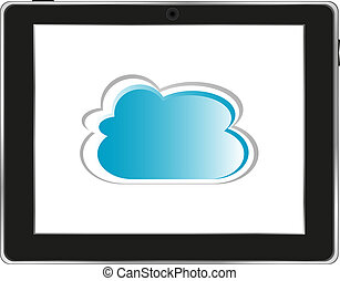 realistic computer tablet with cloud on background