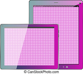 Realistic concept of tablet pc pink textile blank screen