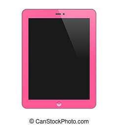 Realistic Concept Of Tablet PC With Blank Screen. Vertical, Pink. Isolated On White Background. Vector Illustration