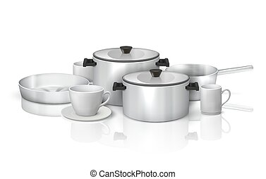 Realistic cookware. 3D kitchen utensils and crockery, steel kitchenware and white dishes. Vector isolated set of cooking tools, pans and pots