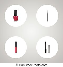 Realistic Cosmetic Stick, Eyelashes Ink, Liquid Lipstick And Other Vector Elements. Set Of Maquillage Realistic Symbols Also Includes Ink, Brush, Stick Objects.