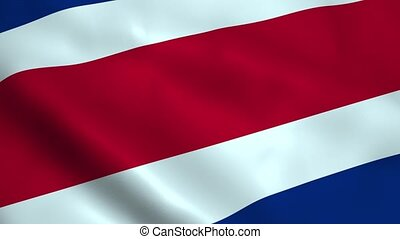 Realistic Costa Rica flag waving in the wind. Seamless...