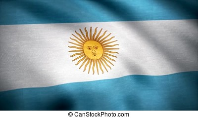 Realistic cotton flag of Argentina as a background. The...