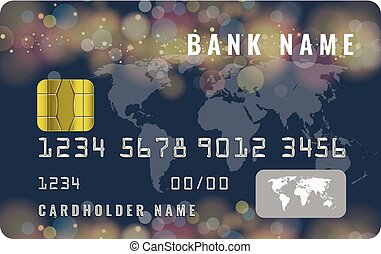 Realistic credit card design template with a chip frontside view mock up. Dark blue color.
